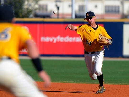 Storme Cooper of Southern Miss makes the play at first against Auburn Sunday during the 2016 Cox Diamond Invitational at Blue Wahoos Stadium. The Eagles return for a fourth time in the event this year.