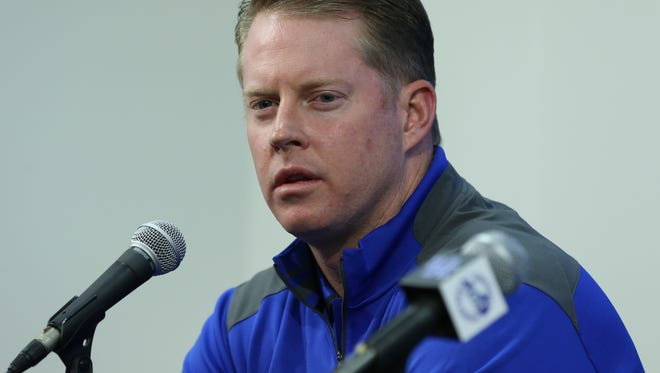New coach Darin Hinshaw is introduced at UK at a press conference.