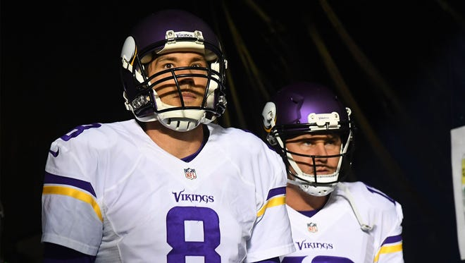 Oct 31, 2016; Chicago, IL, USA; Minnesota Vikings quarterback Sam Bradford (8) takes the field before a game against the Chicago Bears at Soldier Field. Mandatory Credit: Mike DiNovo-USA TODAY Sports