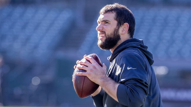 Indianapolis Colts quarterback Andrew Luck (12) warms up before the game against the Oakland Raiders at Oakland Alameda Coliseum in Oakland, Calif., on Saturday, Dec. 24, 2016.