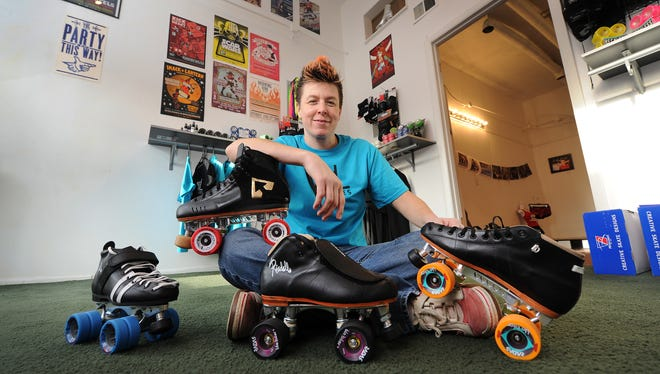 File photo - Korvin Bothwell, co-owner of Vital Skates, an Indianapolis shop in Fountain Square that caters to roller derby skaters. Bothwell has skated with Naptown Roller Derby and Race City Rebels. Matt Kryger / The Star
