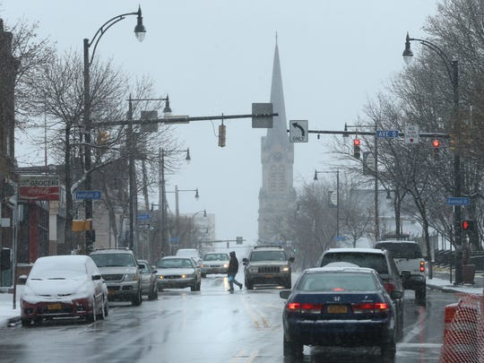 Looking south down Clinton Ave. and the Avenue D intersection in Rochester's north side.
