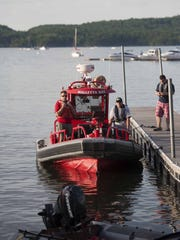 Rescue personnel respond to a boat crash on Malletts Bay in Colchester on Wednesday, June 15, 2016.