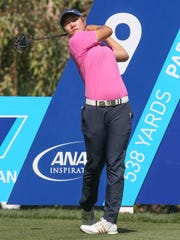 Eun Jeong Seong tees off on the 9th hole at the ANA Inspiration in Rancho Mirage, March 30, 2017.
