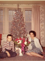 Vince Garguilo and his mom Lillian with their aluminum tree in 1961.