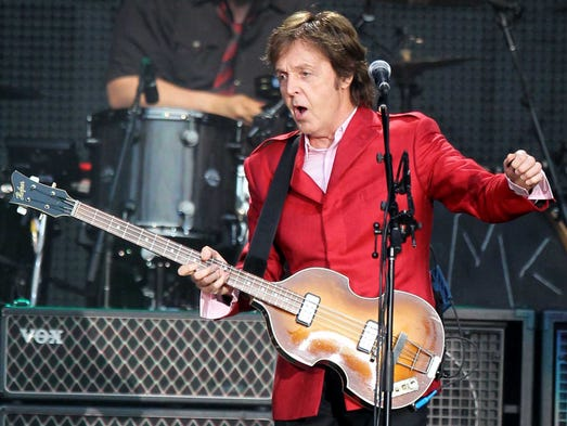 """Paul McCartney performs during his """"One The Run"""" concert"""
