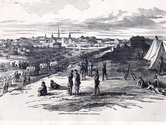 """""""Louisville was panicked by Confederate Gen. Braxton Bragg's 1862 invasion. But (Gen. Don Carlos) Buell's Union force, which moved to meet the threat, pulled back and is shown entering the city."""" A Courier-Journal caption  for a Nov. 20, 1960 drawing that appears to be from Harper's Pictorial History of the Civil War."""