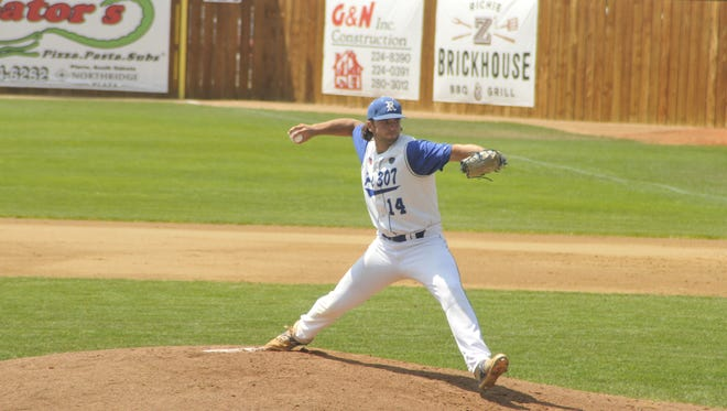 Quentin Evers delivers a pitch for Renner Wednesday at the state legion baseball tournament