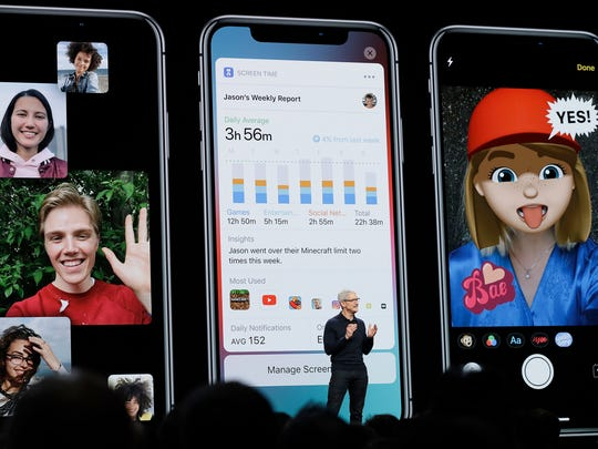 Apple CEO Tim Cook speaks during an announcement of