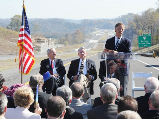 Gov. Bill Haslam and former governors Lamar Alexander, Don Sundquist and Winfield Dunn joined together for a grand opening ceremony of SR 840 on Friday, Nov. 2, 2012 in Burwood, Tenn.