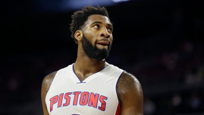 Detroit Pistons center Andre Drummond is seen during the first half of an NBA basketball game against the Los Angeles Clippers, Monday, Dec. 14, 2015, in Auburn Hills, Mich. (AP Photo/Carlos Osorio)