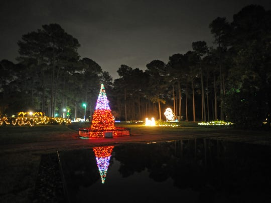 Lights and Christmas tableau at the American Rose Center's