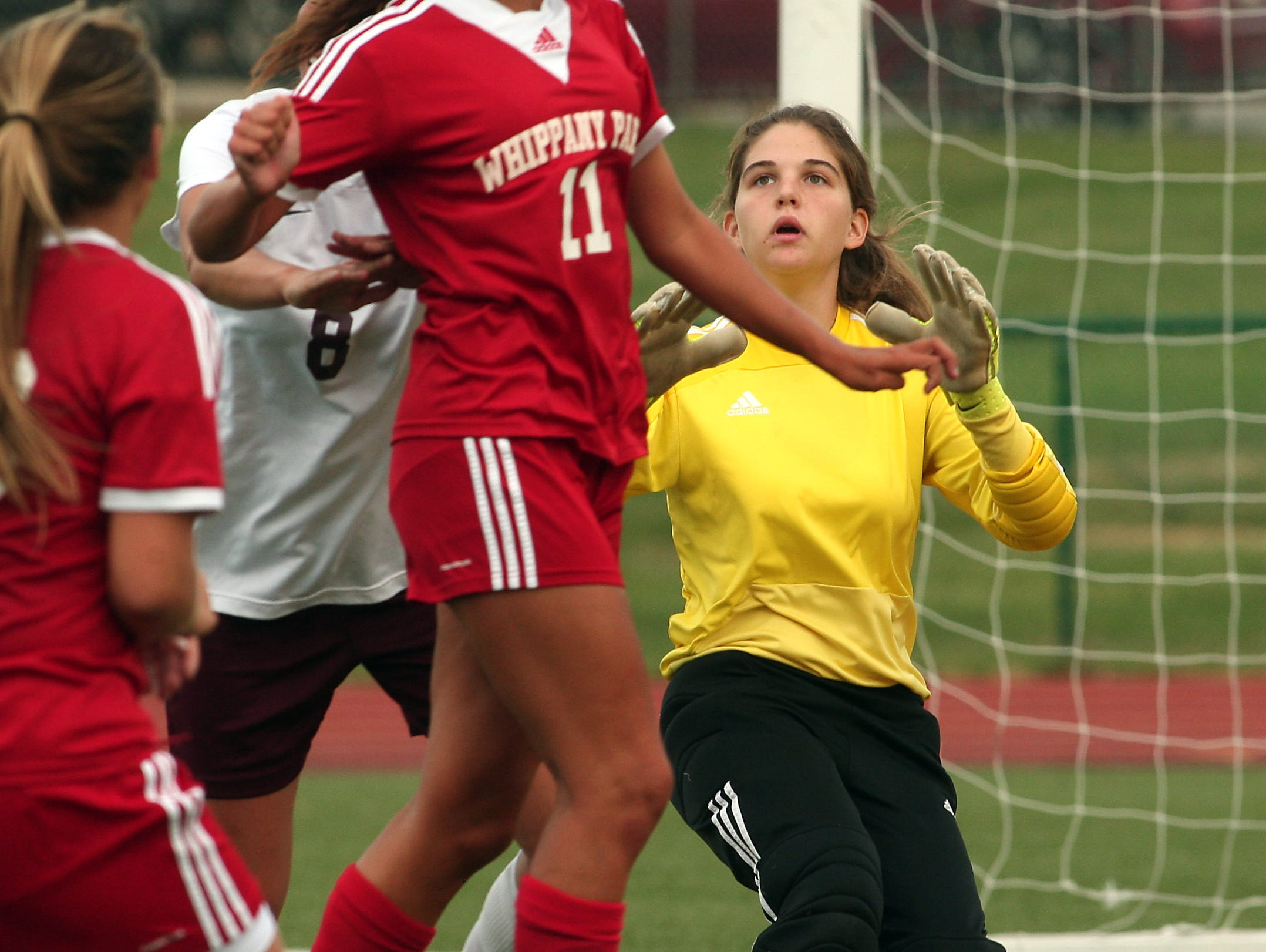 Whippany Park's Silvana Poulter heads in a ball for a goal vs. Madison during their girls soccer matchup. September 22, 2015, Madison, NJ.