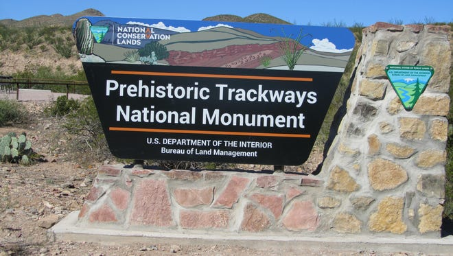 BLM signs like these are constructed to welcome visitors to some very special public lands in southern New Mexico like the Prehistoric Trackways National Monument.