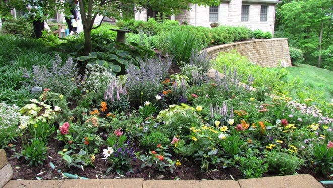 The tour of a garden provides ideas on the value of retaining wall and plants for slopes.