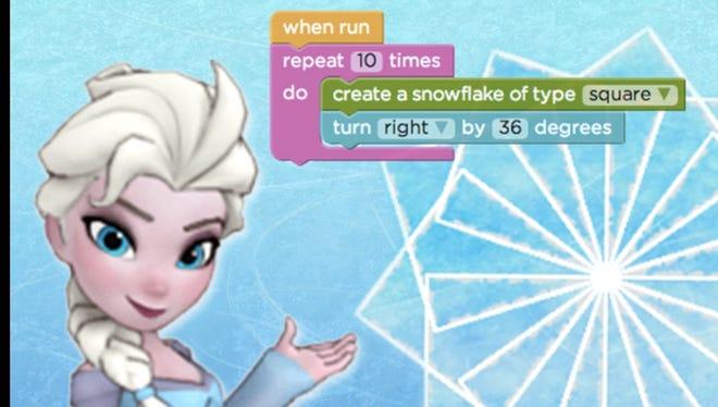 Elsa from Disney's Frozen movie is part of an online Code.org tutorial designed to encourage children to code.