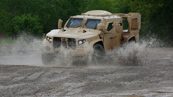 Oshkosh Corp.'s Joint Light Tactical Vehicle maneuvers through the test course May 24, 2017. The JLTV is in the MRAP All-Terrain Vehicle family of vehicles, only it is lighter and faster. It possesses the same mine resistant and ambush protection as the MATV.