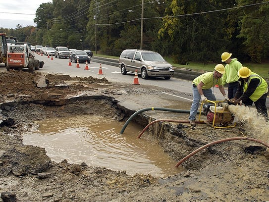 A 6-inch water line break caused a large sinkhole at