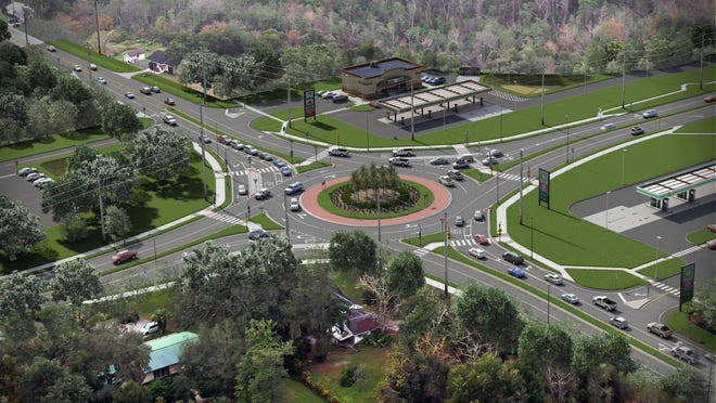 A rendering shows the proposed roundabout at State Road 44 and Kepler Road in the DeLand area. The Florida Department of Transportation is hosting a hearing on the matter on Thursday.