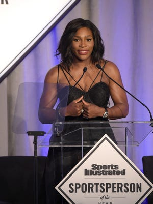 NEW YORK, NY - DECEMBER 15:  SI 2015 Sportsperson of the Year Serena Williams speaks on stage during Sports Illustrated Sportsperson of the Year Ceremony 2015 at Pier 60 on December 15, 2015 in New York City.  (Photo by Theo Wargo/Getty Images for Sports Illustrated)