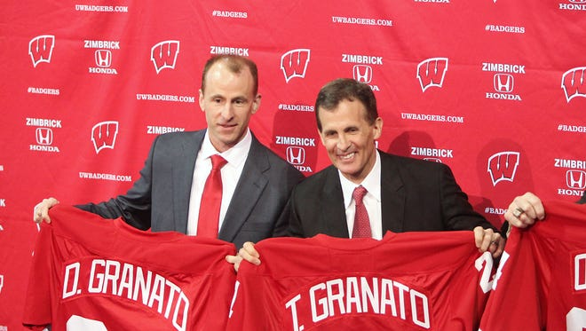 Tony Granato, left, is introduced as the new head coach for the University of Wisconsin men's hockey team, with assistant coach Don Granato.