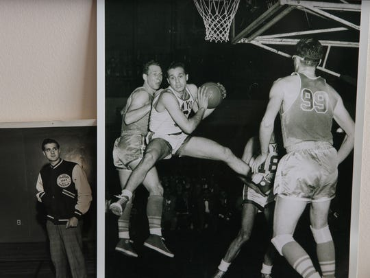 Dr. George Kaftan of Wall, a member of the 1947 Holy Cross basketball team that won the NCAA Tournament, shown in a photo playing for the New York Knicks in 1952