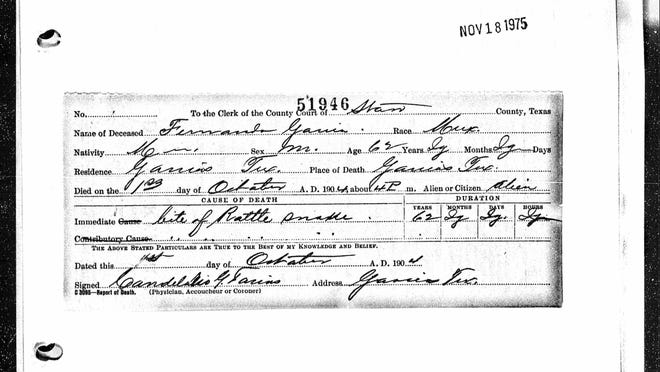 The death certificate for Confederate Civil War veteran Fernando Garcia reveals that he died in 1904 of a rattlesnake bite.