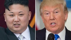 Profile photos of Kim Jong Un (left) and President