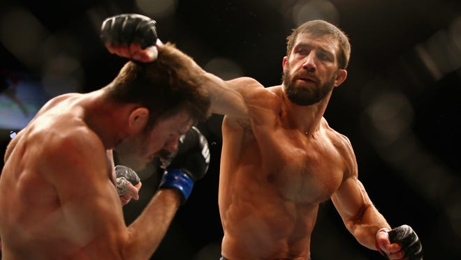 Luke Rockhold (right) will headline the Ultimate Fighting Championship's return to the Prudential Center in Newark on April 18. The UFC has run the Prudential Center frequently since 2007, as it has been locked out of Madison Square Garden because professional mixed martial arts remains illegal in New York.