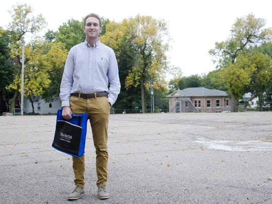 Calvin Bloemendaal, the Dell Rapids Chamber of Commerce's administrator, stands outside his office.