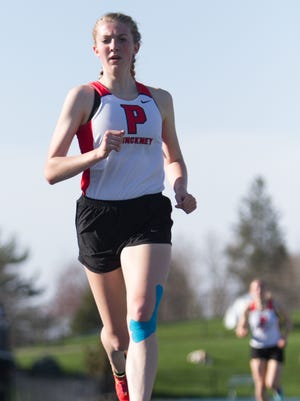 Pinckney's Erika Rapp won three events, including the 1,600 in 5:29.34, on Tuesday, May 1, 2018 in a track and field meet at Chelsea High School.