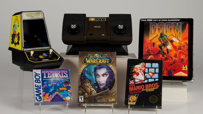 The 2015 inductees into the World Video Game Hall of Fame: Pac-Man, Pong, Doom, Tetris, World of Warcraft, Super Mario Bros.