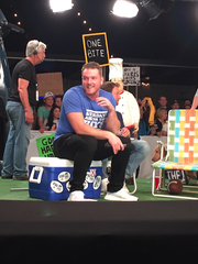 Pat McAfee on the Barstool Sports set Wednesday night in Houston.