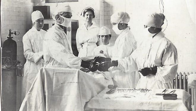A historic photo of PRMC's operating room.