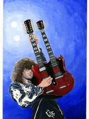 Acrylic Painting of Jimmy Page by Vincent Zigarelli