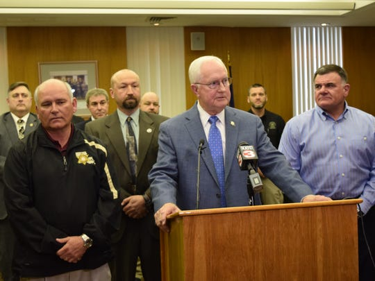 "Rapides Parish Sheriff William Earl Hilton (front) speaks about the capture of Frank John Selas III, 76, who is jailed California on two counts of obscene behavior with juveniles from Rapides Parish. The case dates back 37 years. Selas was a television personality from a Monroe television station who was also known as ""Mr. Wonder."" With Hilton are Ouachita Parish Sheriff Jay Russell (far left), U.S. Marshals Task Force commander Glenn Belgard (second from left) and Rapides Parish District Attorney Phillip Terrell (far right.)"