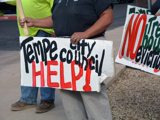 Residents of Tempe Mobile Home Park protested outside