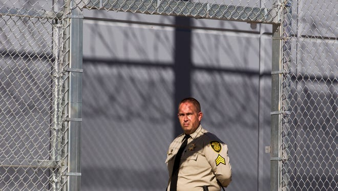 Sgt. Ray Obrien of Department of Corrections gives a media tour of their newest Max Custody facility: the 500 bed addition to the Rast Unit of the Lewis Prison Complex in Buckeye on Friday Nov. 7, 2014.