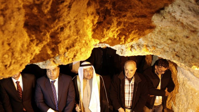 Iyad bin Amin Madani, center, secretary-general of the OIC, visits the Dome of the Rock in Jerusalem last week.