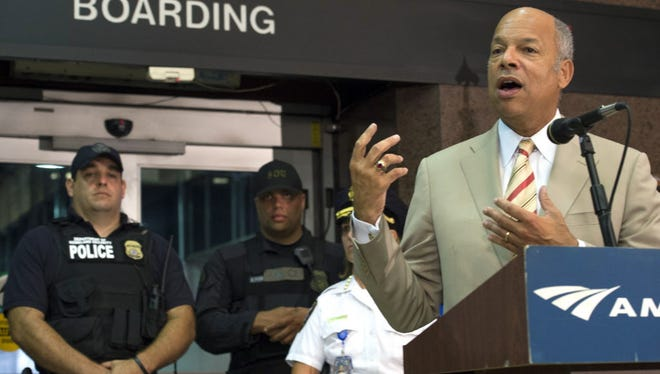 Homeland Security Secretary Jeh Johnson speaks at a news conference on security for the U.S. rail system, at Union Station in Washington, D.C., on Sept. 3, 2015.