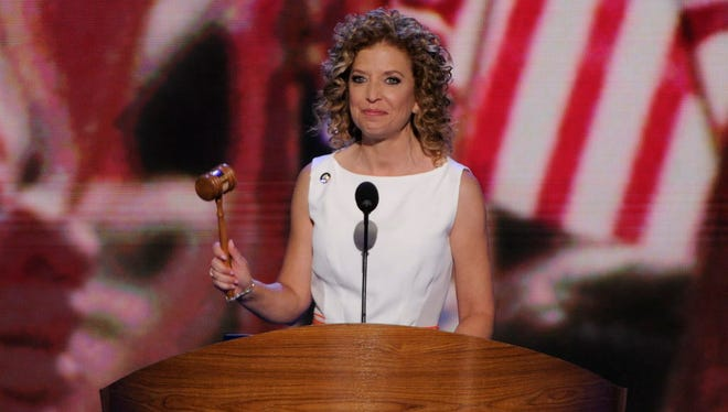 Rep. Debbie Wasserman Schultz, chair of the DNC, bangs the gavel to call the convention to order at the 2012 convention.