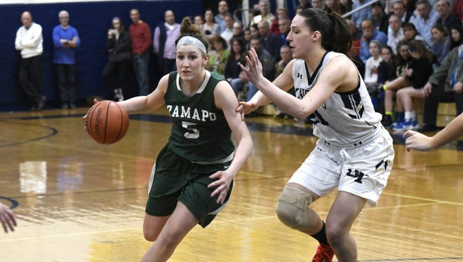 Emily Calabrese became the first player in Ramapo history to reach 1,000 career points and 1,000 rebounds.