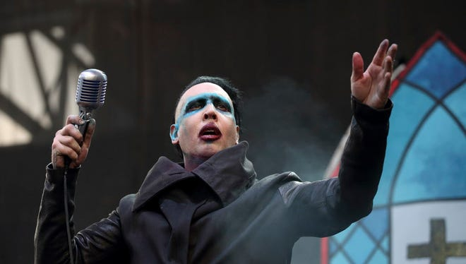 Marilyn Manson performs at the Rock on the Range Festival in Columbus, Ohio, on May 15, 2015.