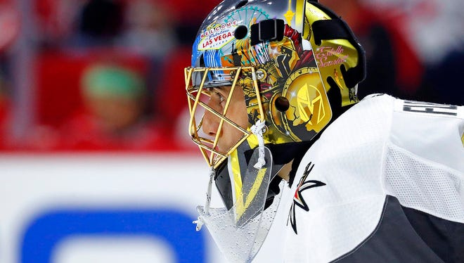 In this Jan. 21, 2018, file photo,Vegas Golden Knights goaltender Marc-Andre Fleury (29) watches the action during the second period of an NHL hockey game against the Carolina Hurricanes in Raleigh, N.C.