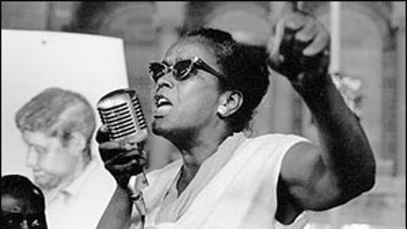 Ella Baker speaks outside the 1964 Democratic National Convention in Atlantic City.