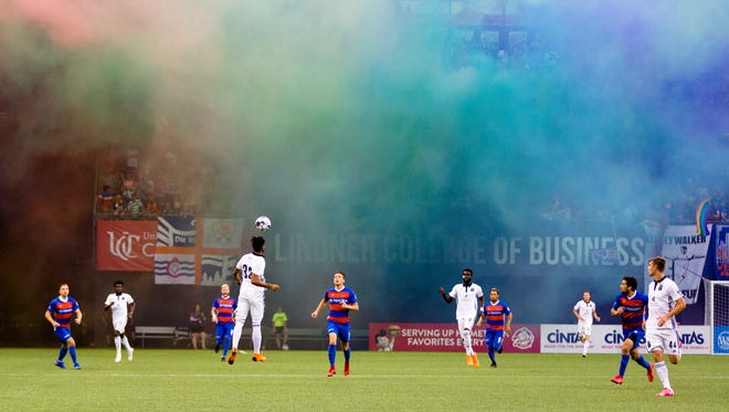 Bethlehem Steel FC defender Matthew Real (32) heads the ball during the USL match between FC Cincinnati and Bethlehem Steel FC on Wednesday, June 13, 2018, in Cincinnati.