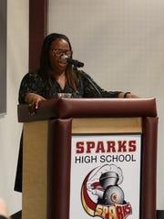 WCSD Superintendent Traci Davis delivers remarks.