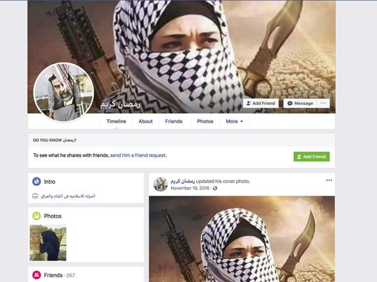 """A Facebook page for user Ramadan kareem, that when translated into English lists the user as working at """"Islamic State in Sham and Iraq."""" The page was still live Tuesday, May 7, 2019, when the screen grab was made."""