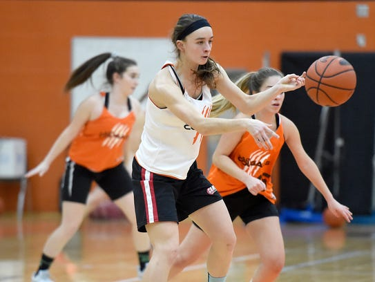 Amelia Baldo works on her passing during a recent practice.