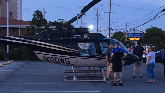 A helicopter landed in a church parking lot on 17th Street on July 3, 2018. Ocean City is looking at restrictions for personal use of helicopters.